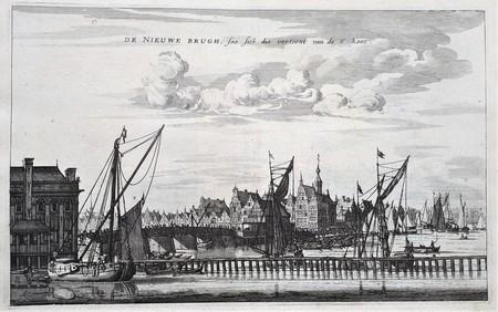 Amsterdam. De Nieuwe brug vanaf de Y kant gezien.