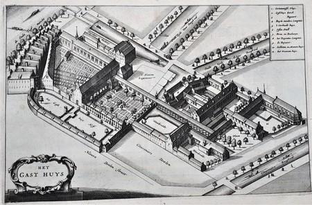 Amsterdam. Vogelvluchtperspectief van het Binnengasthuis.