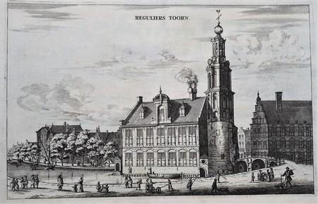Amsterdam. Het Singel, gezien naar de Regulierstoren, de tegenwoordige Munttoren op het Muntplein.