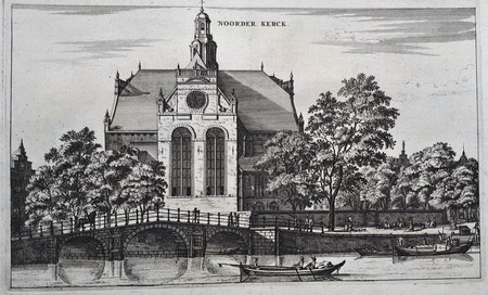 Amsterdam. The Noordermarkt with Noorderkerk, seen from the Prinsengracht