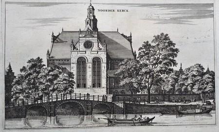 Amsterdam. De Noordermarkt met Noorderkerk, gezien van de Prinsengracht