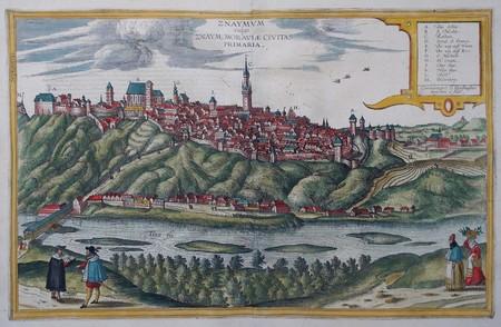 Czech Republic. Moravia. Znojmo (Znaim). Bird's-eye view.