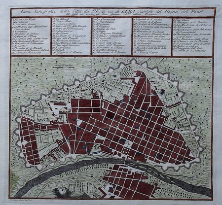 Peru. Lima. Stadsplattegrond.