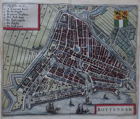 Rotterdam. Stadsplattegrond in vogelvluchtperspectief.