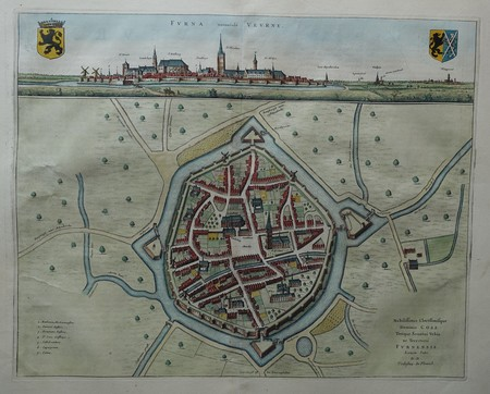 Belgium. Veurne. Bird's-eye plan and view.