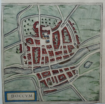 Dokkum. Stadsplattegrond in vogelvluchtperspectief