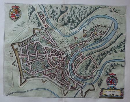 Luxemburg. Stadsplattegrond in vogelvluchtperspectief.