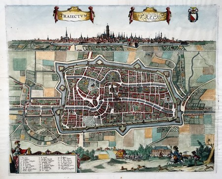 Utrecht. Bird's eye plan and view.