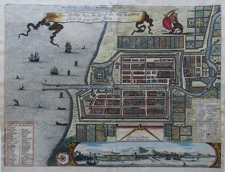 Indonesië. Batavia (Jakarta). Stadsplattegrond en aanzicht.