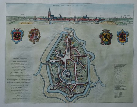 Belgium. Oudenaarde. Bird's-eye plan and view.