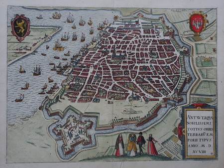 Belgium. Antwerp. Bird's-eye plan.