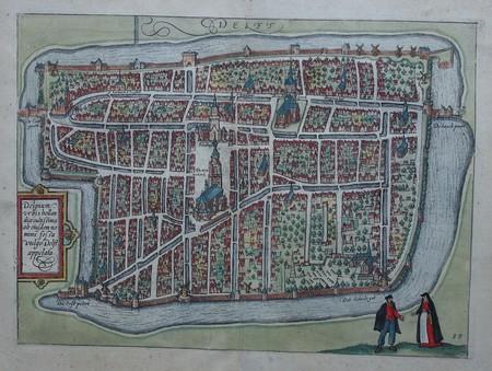 Delft. Stadsplattegrond in vogelvluchtperspectief.