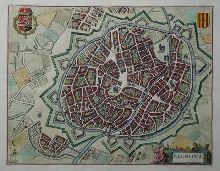 Belgium. Mechelen. Bird's-eye plan.