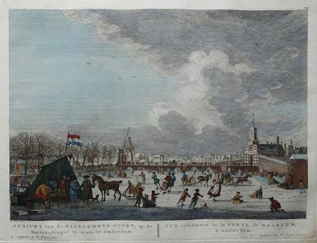 Amsterdam. Winter scene with Haarlemmerpoort.