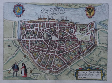 Nijmegen. Stadsplattegrond in vogelvluchtperspectief.