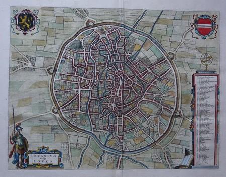 België. Leuven. Stadsplattegrond in vogelvluchtperspectief.