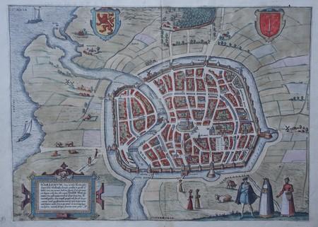 Haarlem. Stadsplattegrond in vogelvluchtperspectief.