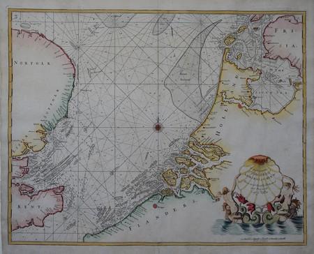 Zeekaart Holland, Zeeland, Vlaanderen, Noordzee.