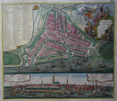 Rotterdam. Plan of Rotterdam and view.