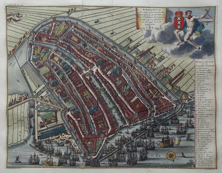 Amsterdam. Stadsplattegrond in vogelvluchtperspectief.