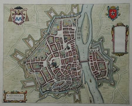 Maastricht. Stadsplattegrond in vogelvluchtperspectief.