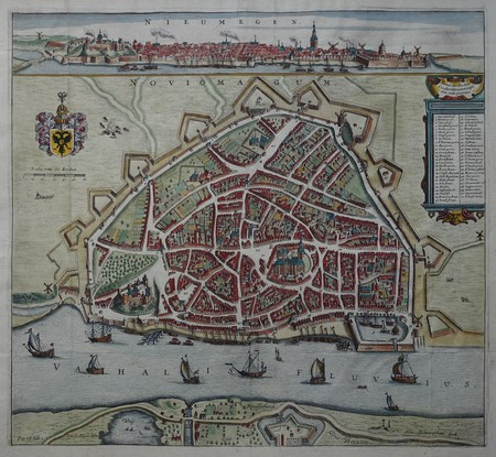 Nijmegen. Stadsplattegrond in vogelvluchtperspectief. Aanzicht.