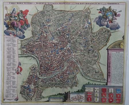 Italië. Rome. Stadsplattegrond in vogelvluchtperspectief.