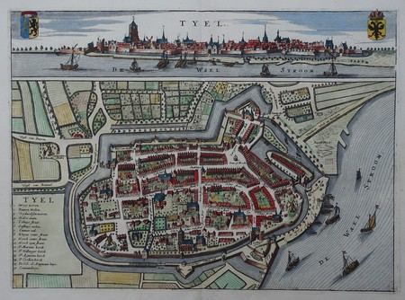 Tiel. Bird's-eye plan and view.