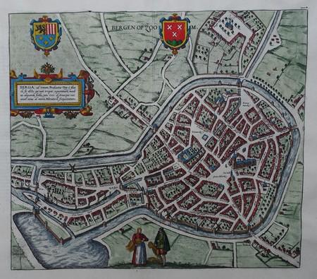 Bergen op Zoom. Stadsplattegrond in vogelvluchtperspectief.