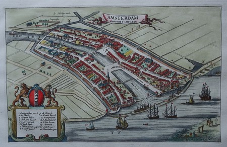 Amsterdam. Historical plan of Amsterdam in the early 13th century.