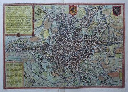 België. Gent. Stadsplattegrond in vogelvluchtperspectief