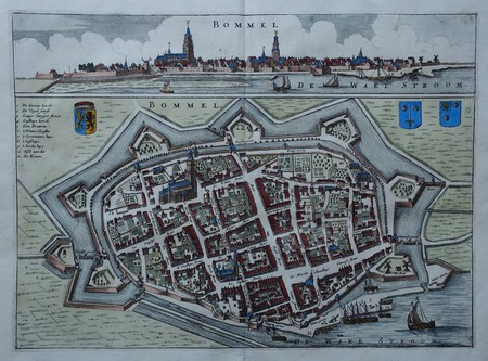 Zaltbommel. Bird's-eye plan and view.