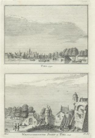 TIEL. De stad Tiel en de Westluidensche poort.