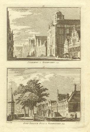 ENKHUIZEN. Twee gezichten (waaronder stadhuis) op een blad.