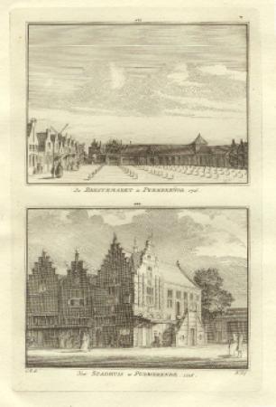 PURMEREND. Beestenmarkt en stadhuis.