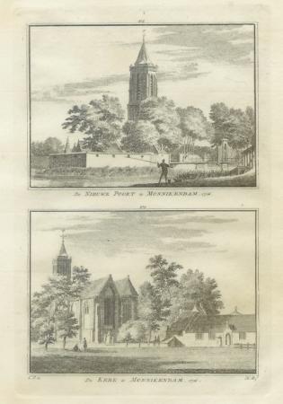 MONNIKENDAM. Twee gezichten, waaronder de kerk, op een blad..