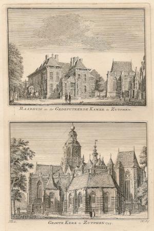 ZUTPHEN. Raadhuis en Grote Kerk.