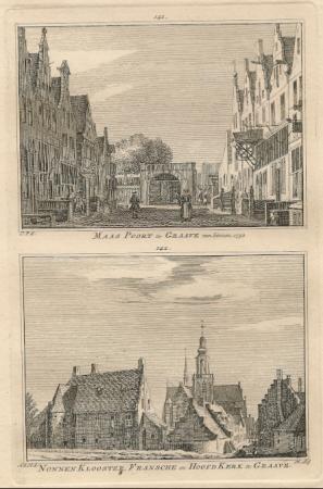 GRAVE. Maaspoort, klooster en Hoofdkerk.