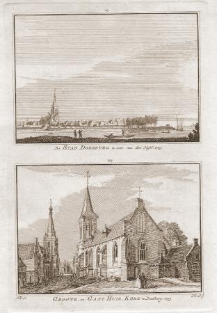 DOESBURG. Stad. Grote en Gasthuiskerk.