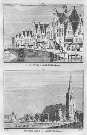 MEDEMBLIK. Stadhuis en Westerkerk.