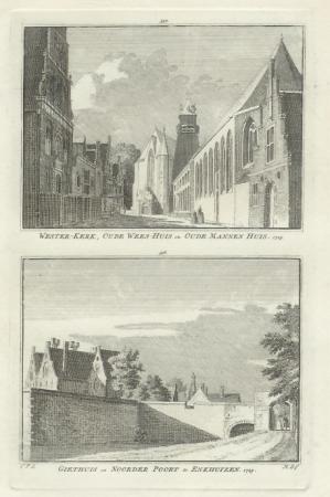 ENKHUIZEN. Twee gezichten (waaronder Westerkerk) op een blad.