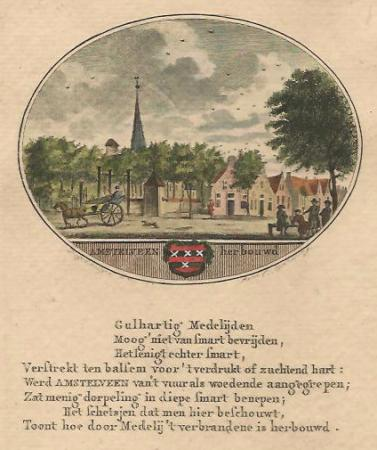 AMSTELVEEN. Gezicht op het dorp na de brand van 1792.