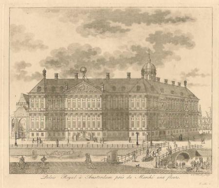 AMSTERDAM. Nieuwezijds Voorburgwal. Achterzijde paleis met deel bloemmarkt.