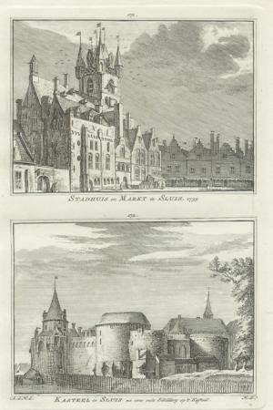 SLUIS. Stadhuis, markt en kasteel.