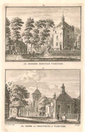 VLEUTEN. Ridderhofstad Vleuten en kerk en rechthuis te Vleuten.