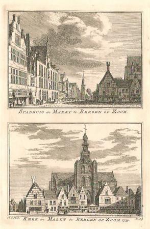 BERGEN OP ZOOM. Stadhuis, kerk en markt.