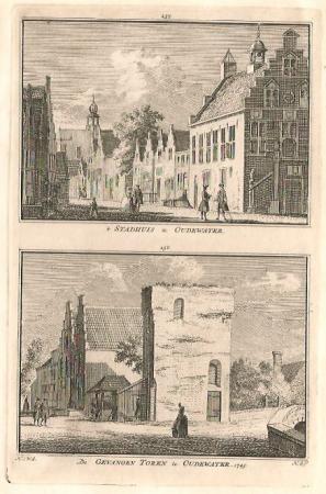 OUDEWATER.  Stadhuis en gevangentoren.