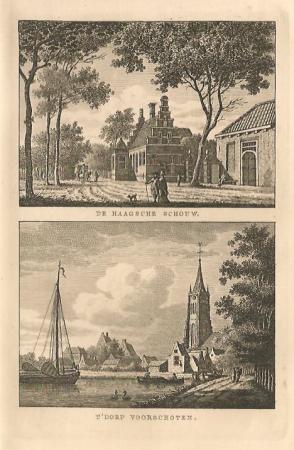 VOORSCHOTEN. Dorp Voorschoten en herberg De Haagsche Schouw.