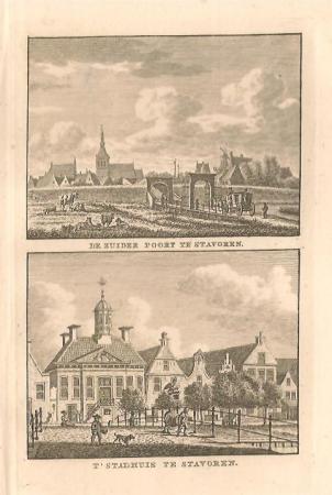 STAVOREN: Zuiderpoort en Stadhuis.