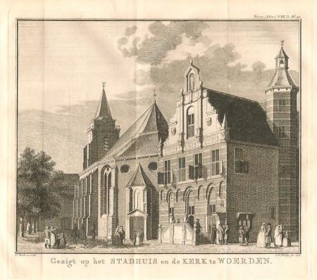 WOERDEN. Stadhuis en kerk.